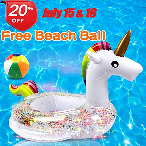 Unicorn Baby Swimming Pool Floats with Safety Handle & Seat, July 15 & 16 Deals Swim Ring Pool Toys for 1-4 Years Toddlers Kids Girls Family Outdoor Summer Party Favor with One Free 6-inch Beach ()
