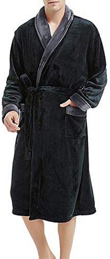 VJGOAL Albornoz para Hombre Solapa de Manga Larga Invierno Plush Color sólido Bata Tallas Grandes Casual Suave con Bolsillos Pijamas para Dormir