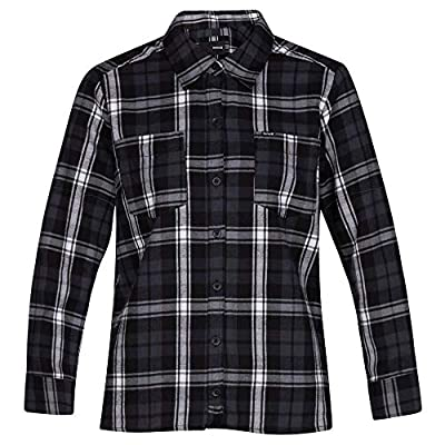 Hurley Women's Long-Sleeve Hooded Plaid Flannel Button Down Sweatshirt