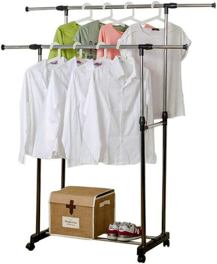 Adjustable Rail Scalable Portable Clothes Hanger Rolling Garment Shelf Stand US