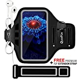 Phone Armbands for Running QUANFUN Adjustable Sports Gym Jogging Armband Case with Fingerprint ID/Key Holder for iPhone 7 Plus 6/6s Plus Galaxy S8 S7 S6 Edge Plus for Man and Strong Arm (5.5 inch Set)