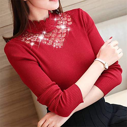 Vino A Da Rosso Maniche Maglione Mezza Shirloy In maglione Con Uomo Donna Lunghe Sottile 1 Collo Alto E YqwqZEU
