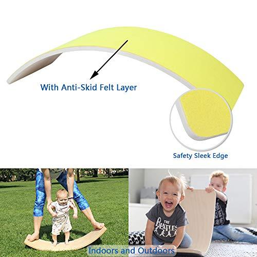 AOLIGE Wooden Balance Board with Felt for Kids Waldorf Wobble Wood Rocker Curvy Yoga Board Children Toddlers Preschool Toys 33.5 Inch(Yellow)