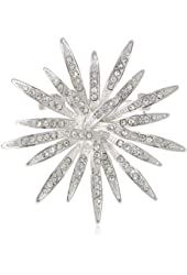 """Anne Klein """"Holiday Pins"""" Silver-Tone and Crystal Burst Pin"""