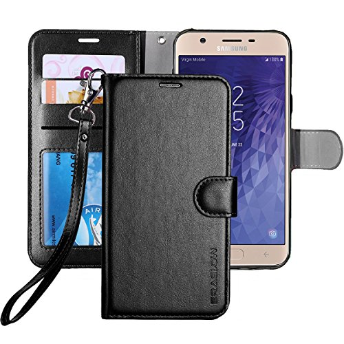 (ERAGLOW Galaxy J7 2018 Case/J7 V 2nd case/J7 Refine/J7 Star/J7 Aero/J7 Crown/J7 Top/J7 Aura/J7 Eon Case, Luxury PU Leather Wallet Flip Protective Case Cover for Samsung Galaxy J737 (Black))