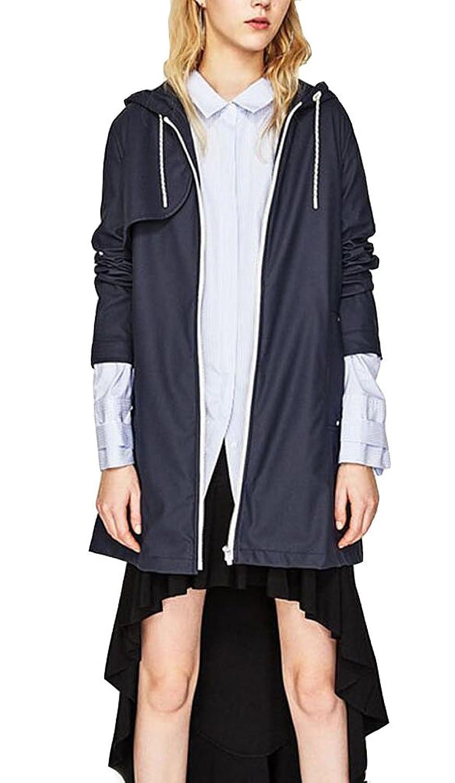 Brinny Femme Regenjacke Combinard Manteau Imperméable à Capuche Manches Longues Veste de Pluie Fermeture Eclair