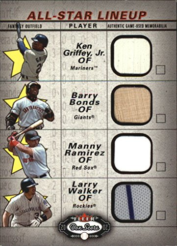 2002 Fleer Box (2002 Fleer Box Score All-Star Lineup Game Used #10 Ken Griffey Jr Base Barry Bonds Bat Manny Ramirez Larry Walker Jersey - NM-MT)
