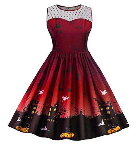 Autumn Christmas Coolred Size Red Plus Women's Wine Party Print Vogue Dress Hallowmas P5r5Inc