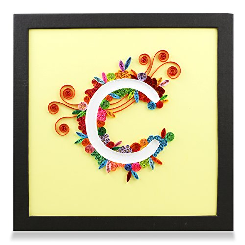 - Letter C Handmade Paper Quilling Artwork, Framed 3D Wall Art or Stand Art as Unique Gift for Rustic Home Decor Quilled by Canadian Artist