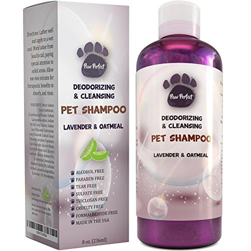 Natural Colloidal Oatmeal Moisturizing Pet Shampoo for Itchy Skin - Lavender Pet Odor Eliminator - For Dogs and Cats - With Jojoba Essential Oil - Pet Dander Remover