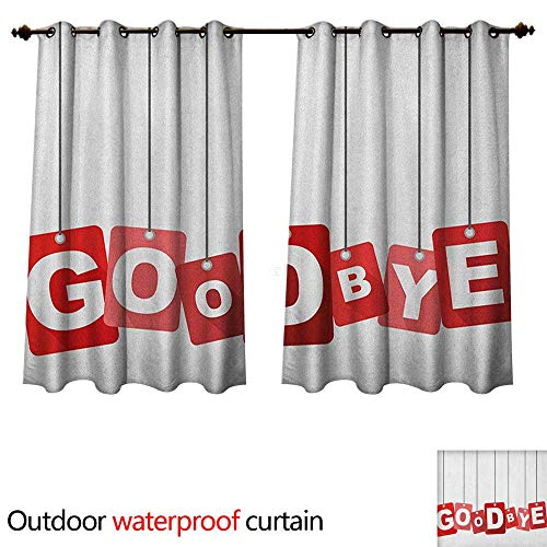 Outdoor Hanging Estrella (Anshesix Going Away Party Outdoor Balcony Privacy Curtain Red Square Blocks Hanging with Letters Good Bye Farewell Artwork Print W120 x L72(305cm x 183cm))