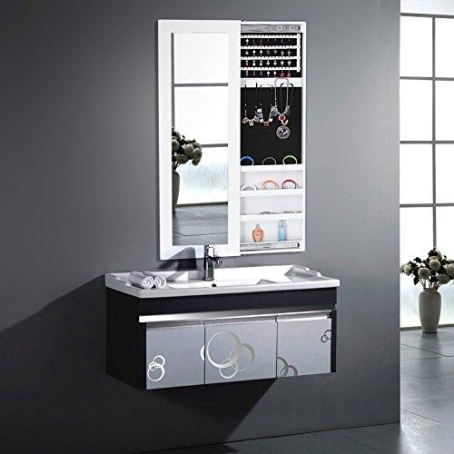 Aparador Mdf Provençal ~ Songmics Armario Joyero de pared con espejo para joyas,joyero de madera de pie,color Blanco