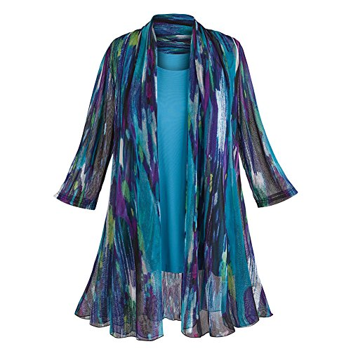 Women's Tunic Jacket Set - Blue Watercolor Cardigan And Tank Top - 1X