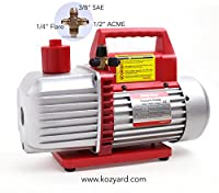 "8CFM Two-Stage Rotary Vane Professional Vacuum Pump (15Micron, 1HP, 1/4""flare 3/8 SAE 1/2""ACME inlet) for HVAC/Auto AC Refrigerant Recharging, Wine Degassing, Milking, Medical, Food processing etc. by Kozyard LLC"