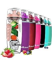 willceal Wasserflasche Mit Fruchteinsatz 945 ml Durable mit abnehmbarem Eisgel-Ball, groß - BPA-freies Tritan, Flip-Deckel, dichtes Design - Sport, Camping