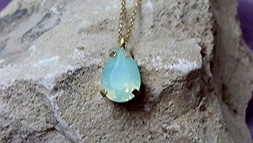 Pear Mint Opal Necklace, Teardrop Bridal necklace, Mint necklace, Swarovski Crystal Necklace, Mint Opal Bridal Necklace, Green Necklace