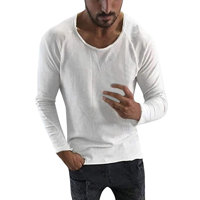 Amazon.com: YKARITIANNA Men Fashion 2019 Soft Spring Summer Casual Solid Color Long Sleeve O-Neck Tops Blouses: Arts, Crafts & Sewing