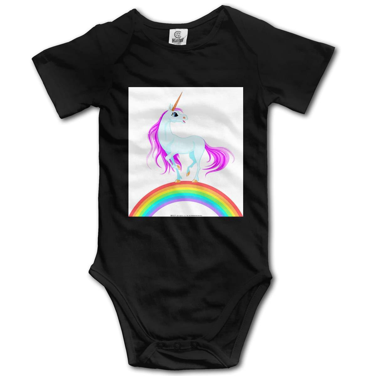 Lucky Rainbow Horse Casual Newborn Baby Short Sleeve Bodysuit Romper Infant Summer Clothing