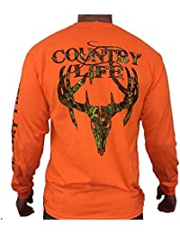 Country Life Camo Deer Skull Safety Orange Long Sleeve Shirt