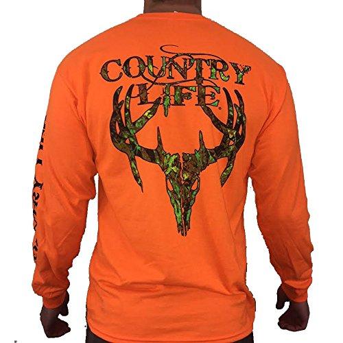 Country Life Camo Deer Skull Safety Orange Long Sleeve Shirt