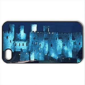 Blue Castle - Case Cover for iPhone 4 and 4s (Ancient Series, Watercolor style, Black)