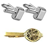 Outlander Thor Silver Cufflink & Dr. Strange Tiebar - New 2018 Marvel Studios Superhero Movies - Set of 2 Wedding Logo w/Gift Box