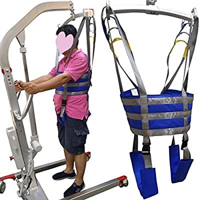 Patient Lift Slings Full Body Walking Standing Aids Carrier Transfer Seat Lifting Cushion Pad Drive Medical Belt with Padded Buffer Large AnyBack Adjustable Waist 3XL 4XL Blue