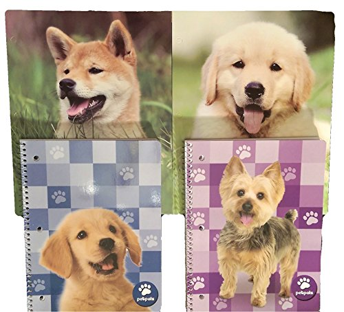 Puppies & Dogs Pet Lovers Back to School Bundle Pack - 2 Folders & 2 Spiral Notebooks (70 Sheets) (Blue Golden Retriever)