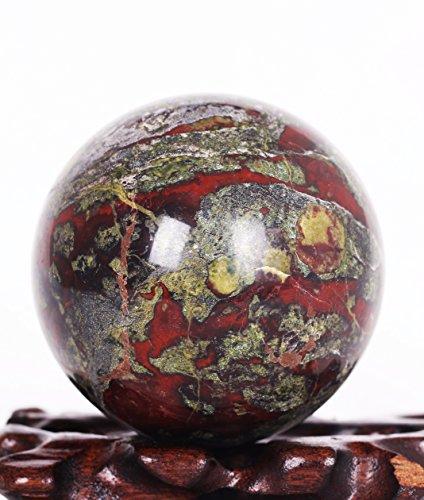 2.92inchDragon Blood Stone Jasper Crystal Sphere Ball, Dragon Blood Stone Jasper Crystal Healing sphere ball640grams ()