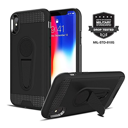 (iPhone X/iPhone Xs Case Pro Duty Series [Military Grade Drop Tested] Magnetic Car Mount Ready with Kickstand [iPhone X Heavy Duty Case] Raised TPU for Screen Protection (Black) by)