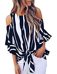 Womens Striped Cut Out Cold Shoulder Tops 3 4 Flare Sleeve Tie Knot Blouses and Tops