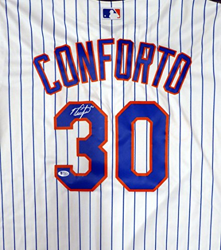 New York Mets Michael Conforto Autographed White Majestic Cool Base Jersey Size XL Beckett BAS