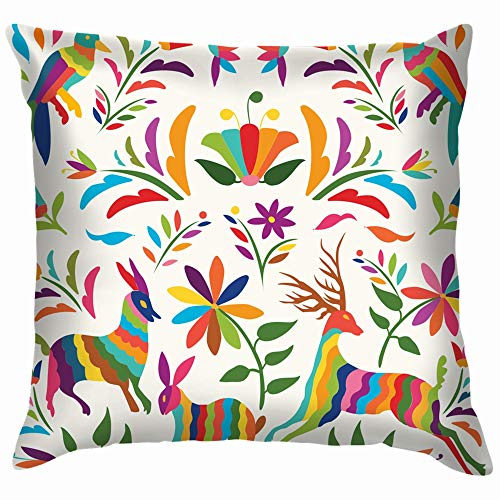 (Colorful Mexican Traditional Textile Embroidery Style Holidays Funny Square Throw Pillow Cases Cushion Cover for Bedroom Living Room Decorative 12X12 Inch )