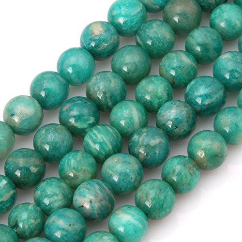 GEM-Inside Russia Amazonite Gemstone Loose Beads Natural 8mm Round Crystal Energy Stone Power for Jewelry Making 15