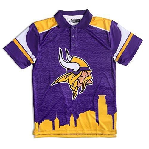 FOCO Minnesota Vikings Polyester Short Sleeve Thematic Polo Shirt Medium Nfl Team Logo Polo Shirt