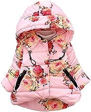 Willsa Baby Girls Jacket, Floral Print Winter Warm Jacket Hooded Windproof Coat