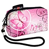 AUPET Pink Butterfly Design Digital Camera Case Bag Pouch Coin Purse with Strap For Sony Samsung Nikon Canon Kodak