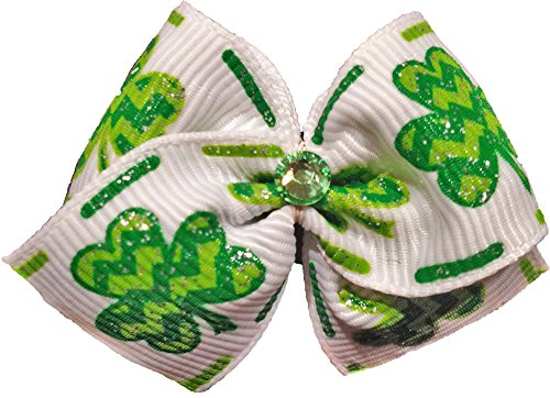 Puppy Kisses Shamrock Dog Hair Bow - Metal barrette closure, Made with SWAROVSKI ELEMENTS