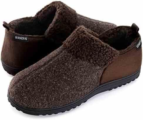 442897e7e5d ULTRAIDEAS Men's Cozy Memory Foam Slippers with Warm Fleece Lining, Wool-Like  Blend Micro
