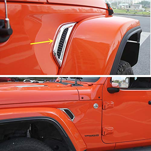 (ZiWen New Chrome Side Air Vent Fender Moulding Trim for Jeep Wrangler JL 2018 2019)