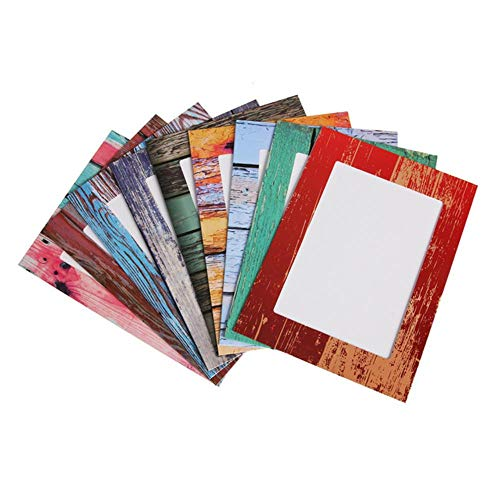 Betsy Bertram 9pcs/lot Wood Grain Wall Paper Photo Frame 7 inches Home Decor Wall Picture Album Hanging Rope Wooden Clip, Multi,7 inch