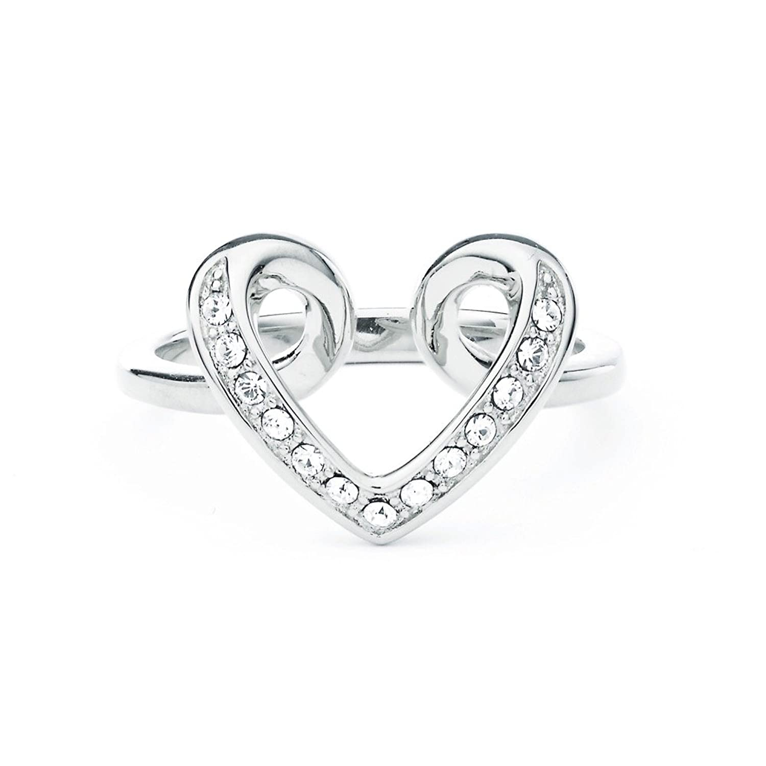 My Jewellery Story MYJS Cupidon Heart Love Rhodium Plated Ring with Clear Swarovski Crystals