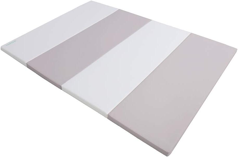 TAOTAO クッションプレイマット プレイマット ベビーマット 防音マット クッションマット マット ベビー (120×160×4cm, ホワイト/ライトグレー)