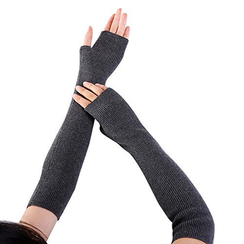 NRUTUP Women Arm Warmer Solid Cashmere Knitted Soft Long Fingerless Gloves Mitten (Dark Grey,Free Size) from NRUTUP