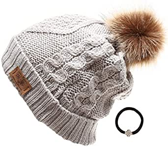 ANGELA & WILLIAM Women's Winter Fleece Lined Cable Knitted Pom Pom Beanie Hat with Hair Tie. (Ash Grey)