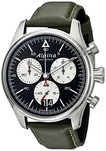 Alpina-Mens-AL-372BS4S6-Startimer-Pilot-Chronograph-Big-Date-Analog-Display-Swiss-Quartz-Green-Watch