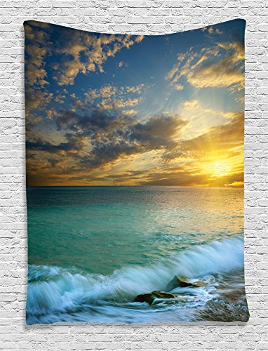 (Ocean Decor Tapestry by Ambesonne, Transverse Seascape of Sunset and a Rocky Coast of Crimea with Waves Picture, Wall Hanging for Bedroom Living Room Dorm, 40 X 60 Inches, Blue Teal and White)