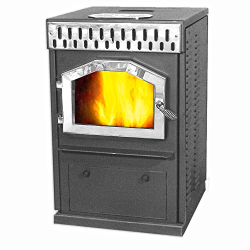 MagnuM Countryside in Classic Black with Nickel Accessories Wood Pellet Stove 32,000 BTU Hand-Built in USA by Magnum