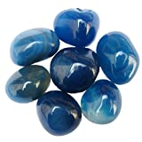 Prisha Blue Onyx Decorative Stones, Pebbles,Glossy Stones for Home Decor, Garden, Vase Filler, 2.2 Pounds