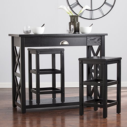 Cricklade Rich Ebony Space Saving Counter Height X- Frame 3 Pieces Breakfast Set